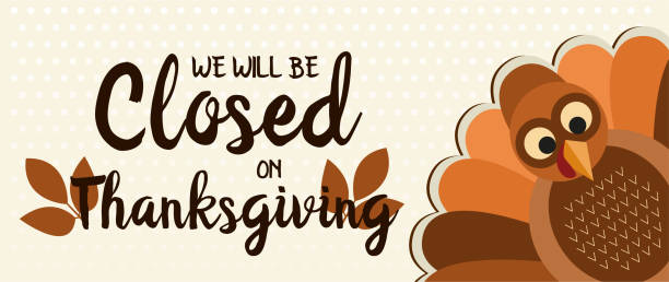 stockillustraties, clipart, cartoons en iconen met gesloten op thanksgiving - dicht