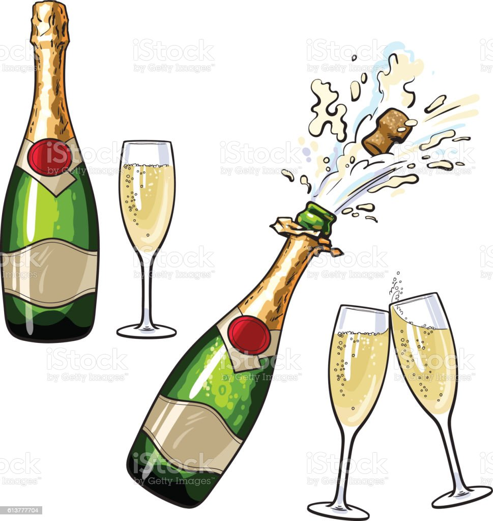 Champagne glass and bottle