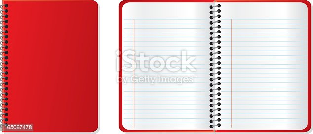 A closed red notebook next to an open red notebook