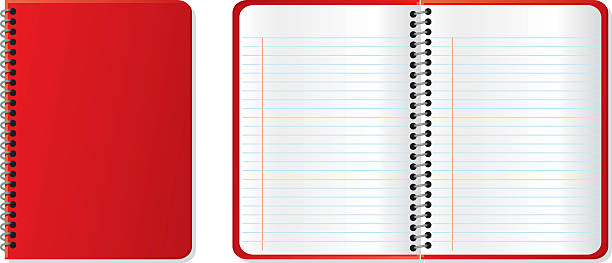 A closed red notebook next to an open red notebook vector art illustration