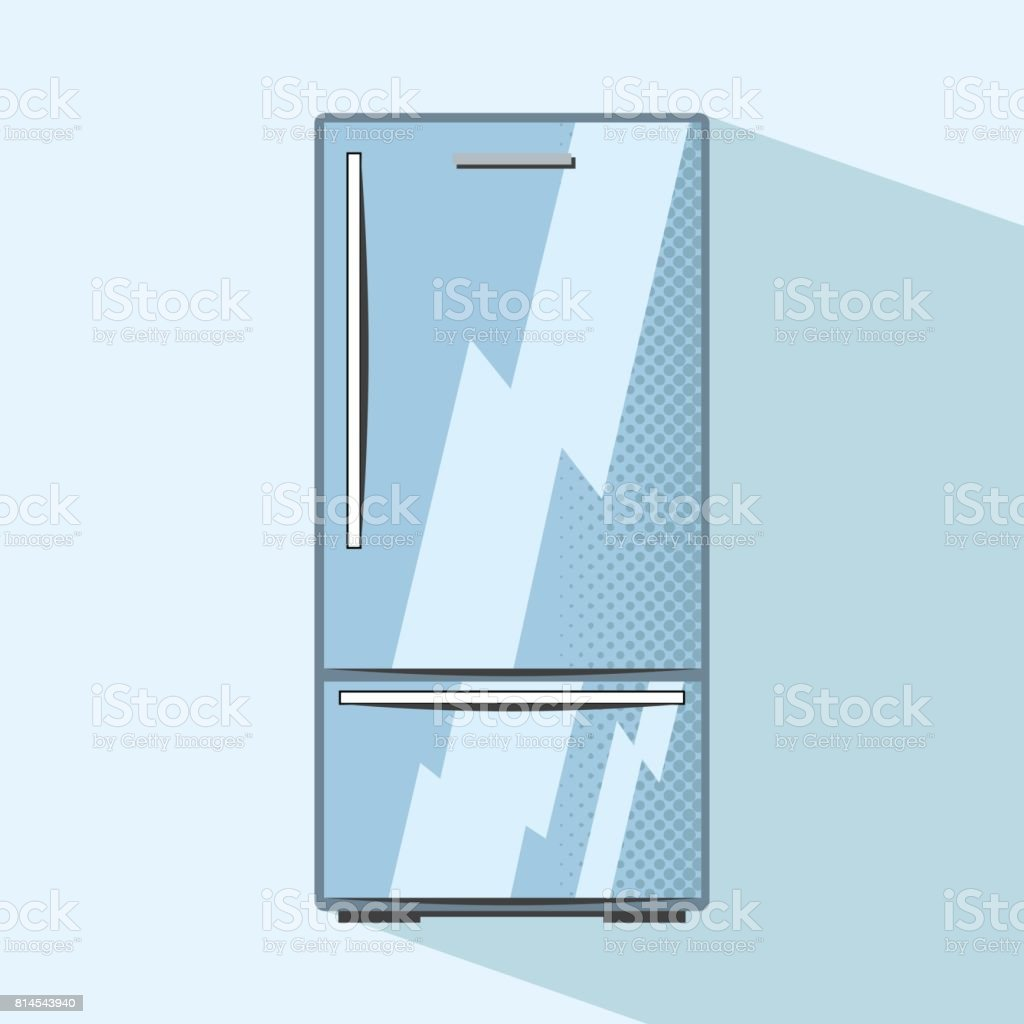 Closed Refrigerator With Freezer Kitchen Appliance Flat Style Vector ...
