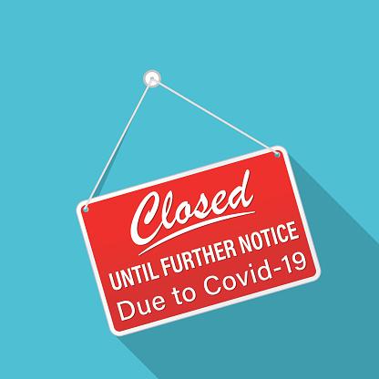 Closed Sign Due To Coronavirus Virus