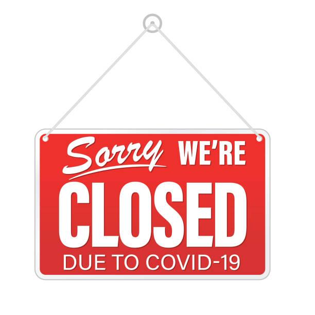 Closed Sign Due To Coronavirus Virus vector art illustration