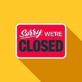 Closed Sign Flat Design E-Commerce Icon