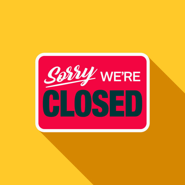 stockillustraties, clipart, cartoons en iconen met gesloten teken plat design e-commerce pictogram - dicht