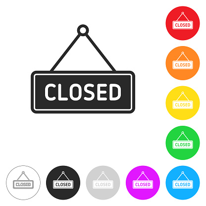 Closed sign. Flat icons on buttons in different colors