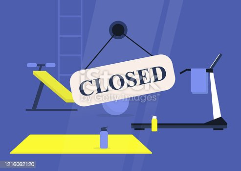 istock Closed sign, gym window, no people 1216062120