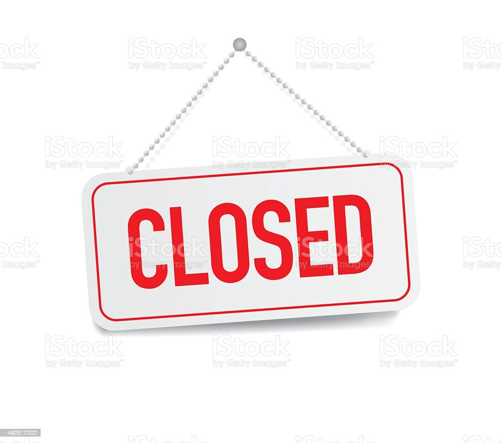 Closed sign hanging isolated on white wall royalty-free closed sign hanging isolated on white wall stock vector art & more images of closed sign