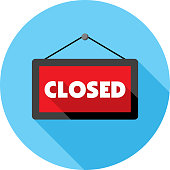 Vector illustration of a red closed sign against a blue background in flat style.