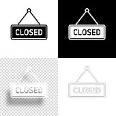istock Closed sign. Icon for design. Blank, white and black backgrounds - Line icon 1294642727