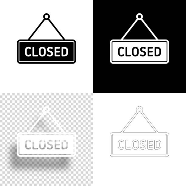 Closed sign. Icon for design. Blank, white and black backgrounds - Line icon vector art illustration