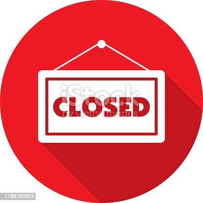 Vector illustration of a red closed sign icon in flat style.