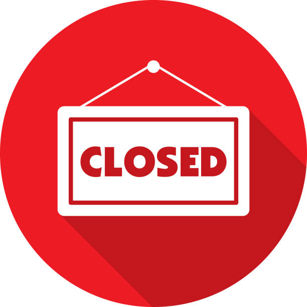 closed sign icon silhouette - прикрывать stock illustrations
