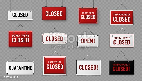 istock Closed sign. Information signboard with rope for business, site and service, cafe or restaurant. Covid 19 quarantine warning vector signs 1227404912