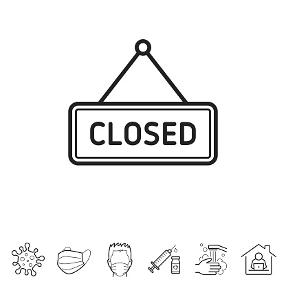 Closed sign. Line icon - Editable stroke