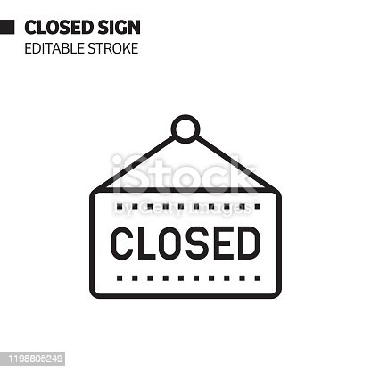 Closed Sign Line Icon, Outline Vector Symbol Illustration. Pixel Perfect, Editable Stroke.