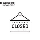 istock Closed Sign Line Icon, Outline Vector Symbol Illustration. Pixel Perfect, Editable Stroke. 1198805249