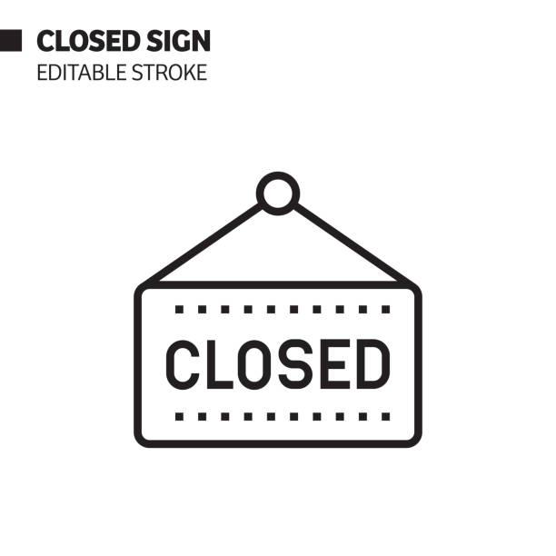 ilustrações, clipart, desenhos animados e ícones de ícone fechado da linha de sinais, ilustração do símbolo do vetor do esboço. pixel perfeito, curso editável. - fechado