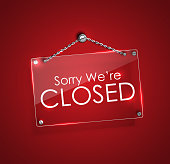 Closed signs with bright frame digital hanging with chain.