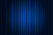 Closed silky luxury blue curtain stage background spotlight beam illuminated. Theatrical drapes. Vector gradient illustration eps 10