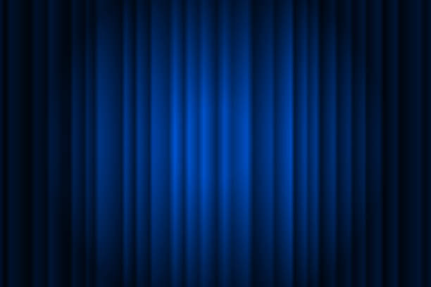 Closed silky luxury blue curtain stage background spotlight beam illuminated. Theatrical drapes. Vector gradient illustration Closed silky luxury blue curtain stage background spotlight beam illuminated. Theatrical drapes. Vector gradient illustration eps 10 premiere event stock illustrations
