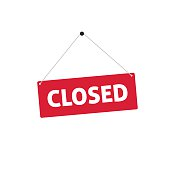 Closed sing vector illustration, flat style signboard hanging