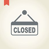Closed store sign icon