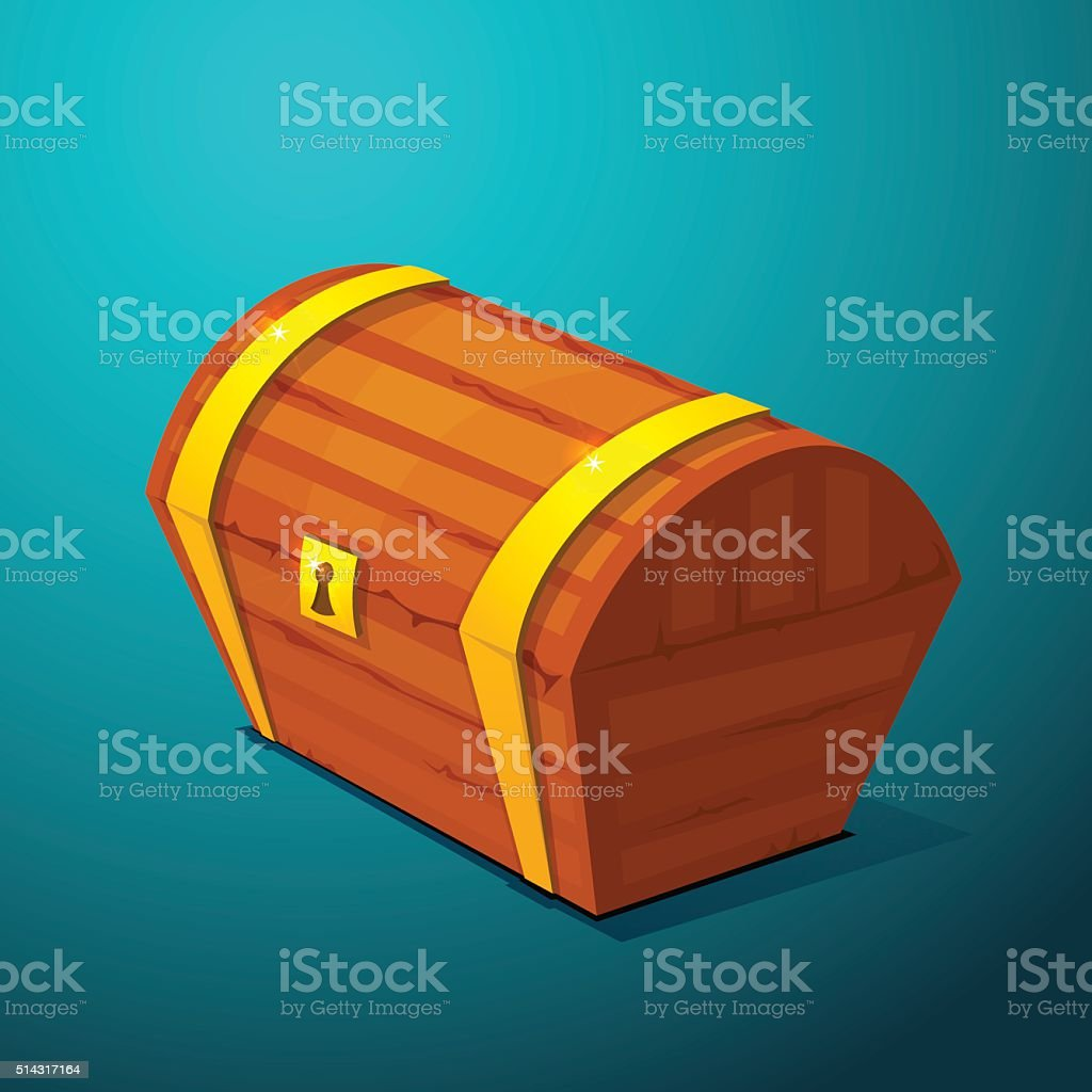 Closed treasure chest, pirate treasure icon wealth vector art illustration