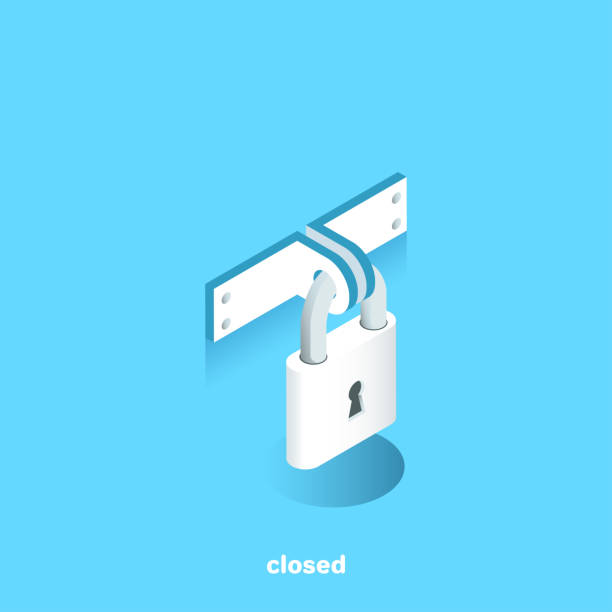 closed closed lock on a blue background, isometric image locking stock illustrations