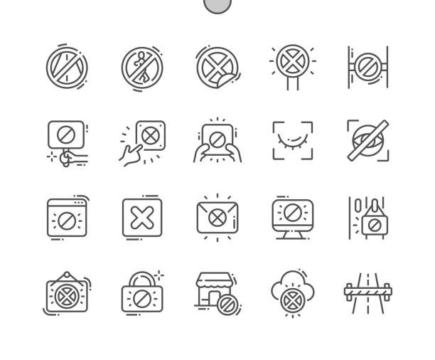 ilustrações de stock, clip art, desenhos animados e ícones de closed well-crafted pixel perfect vector thin line icons 30 2x grid for web graphics and apps. simple minimal pictogram - going inside eye