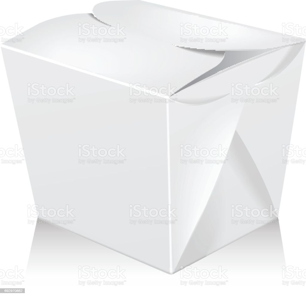 Maqueta de caja de wok en blanco blanco se cerró. Vector 3d packaging. Caja de cartón para asiático o chino llevar bolso de papel del alimento - ilustración de arte vectorial