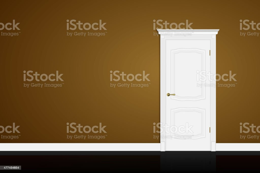 Closed white door on brown wall. Vector vector art illustration