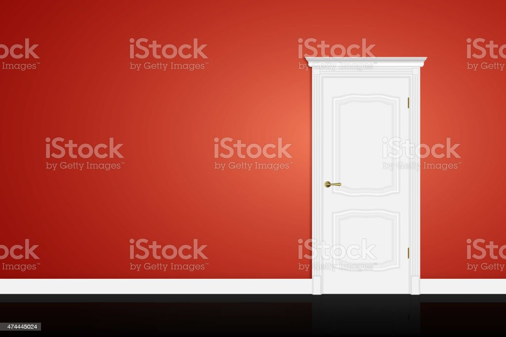 Closed white door on red wall. Vector vector art illustration