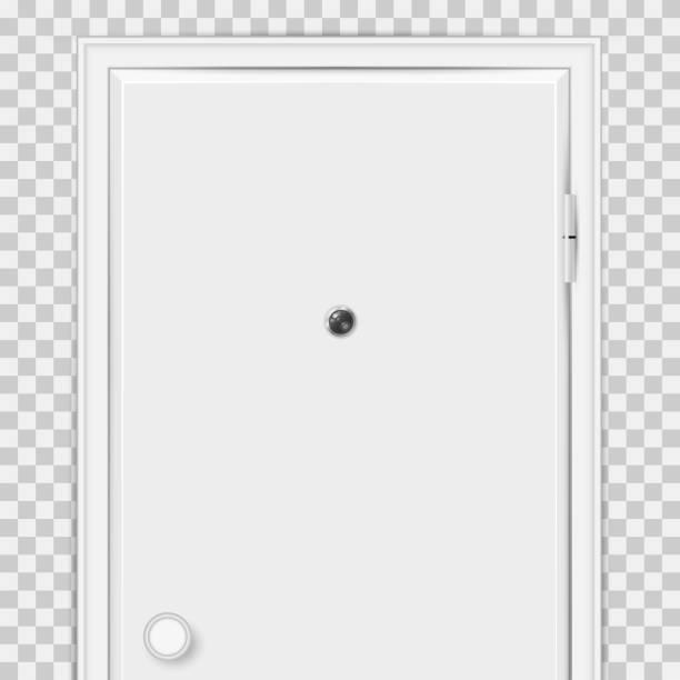 ilustrações de stock, clip art, desenhos animados e ícones de closed white door with door peephole close-up isolated on transparent background - going inside eye