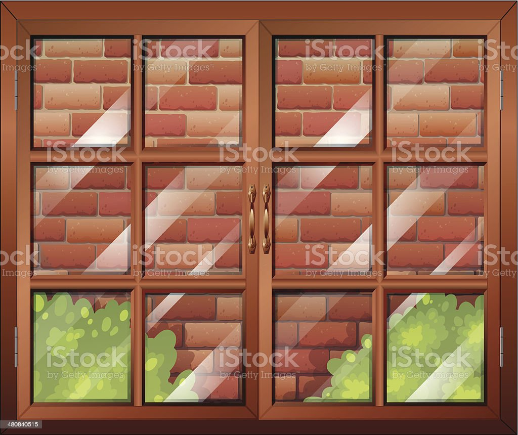Closed window and a stonewall royalty-free stock vector art