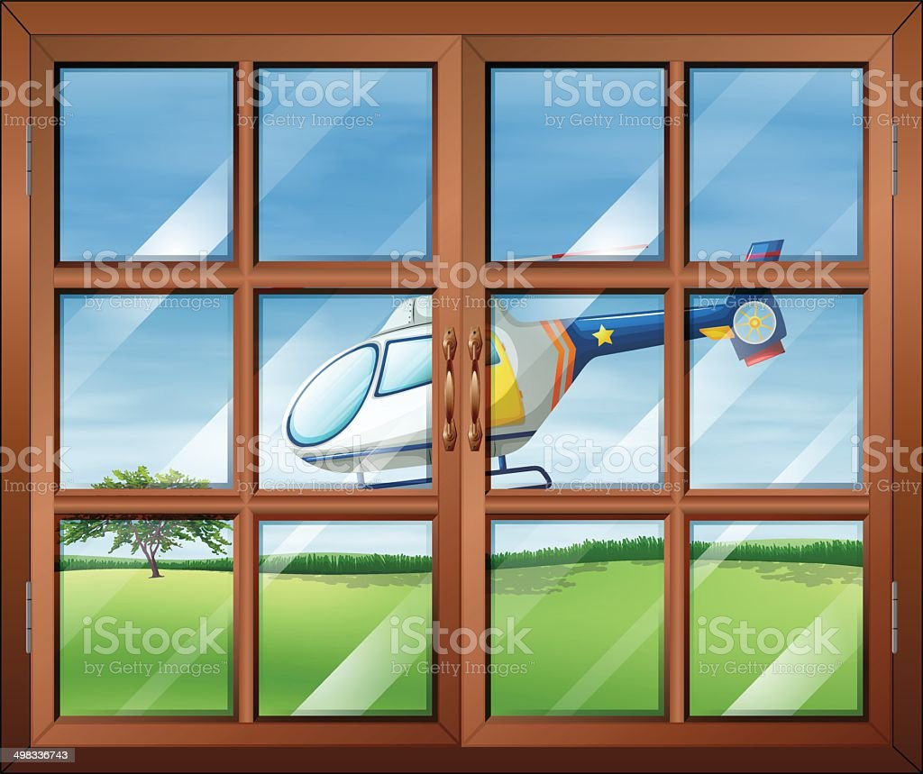 Closed window and the chopper outside vector art illustration