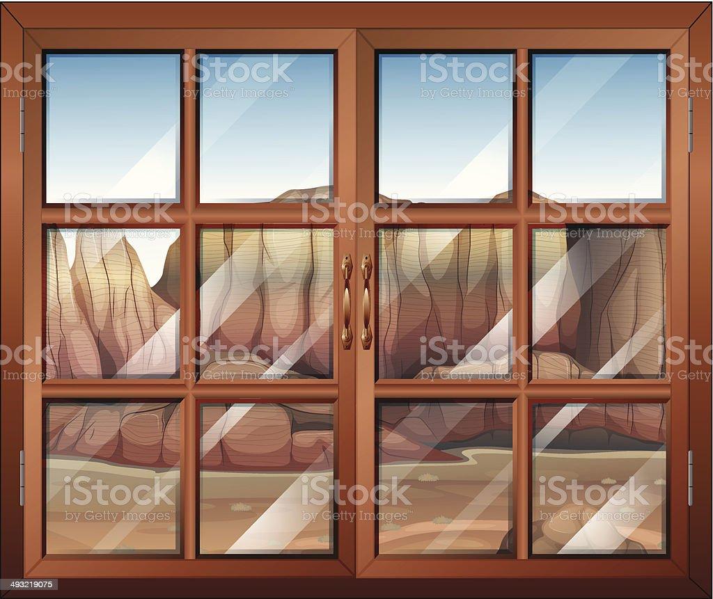Closed window at the desert vector art illustration