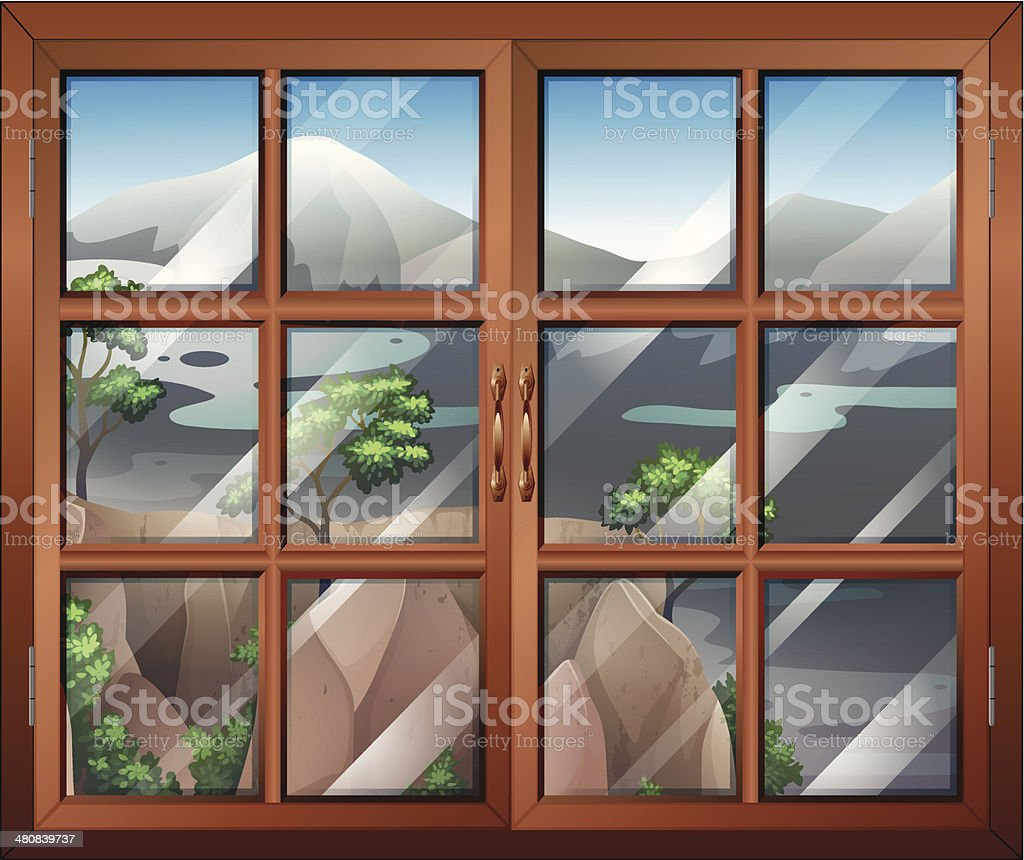 Closed window near the cliff royalty-free stock vector art
