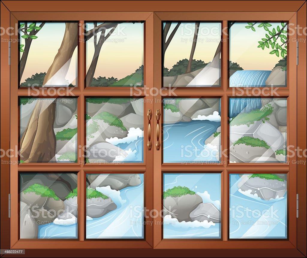 Closed window near the waterfall vector art illustration