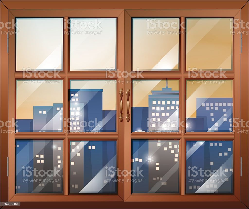 Closed window overlooking the city buildings vector art illustration