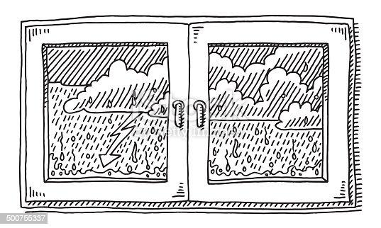 geschlossenen fenster regen wetter zeichnung vektor illustration 500755337 istock. Black Bedroom Furniture Sets. Home Design Ideas