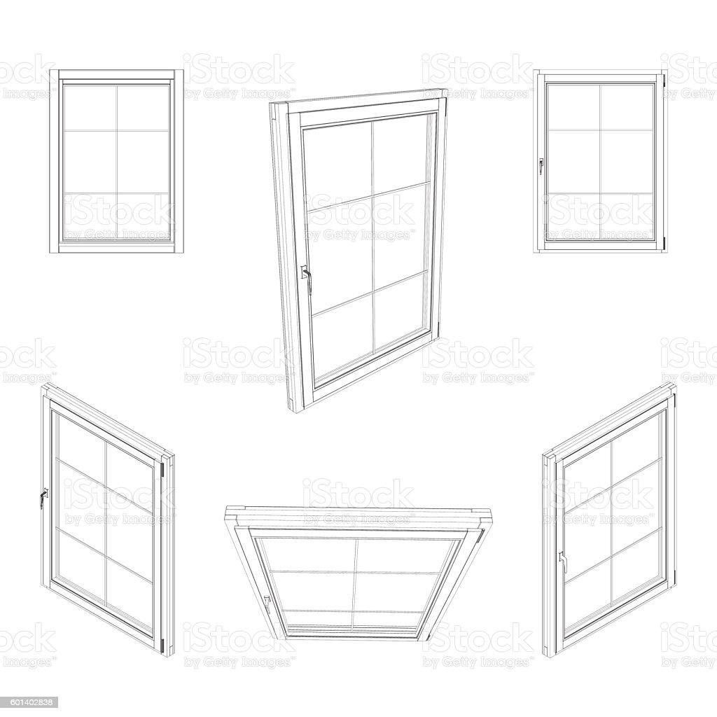 Closed window set. Isolated on white background. Vector outline illustration. vector art illustration