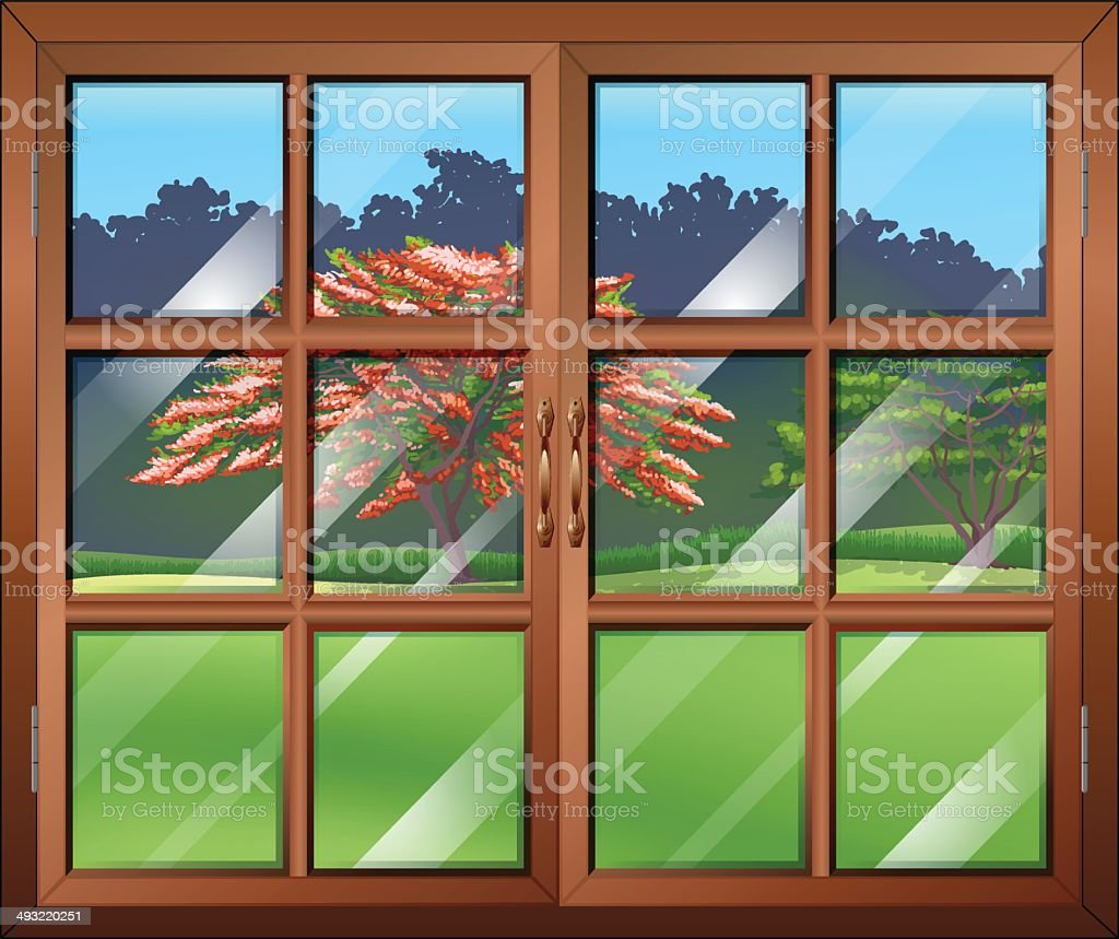 Closed window vector art illustration