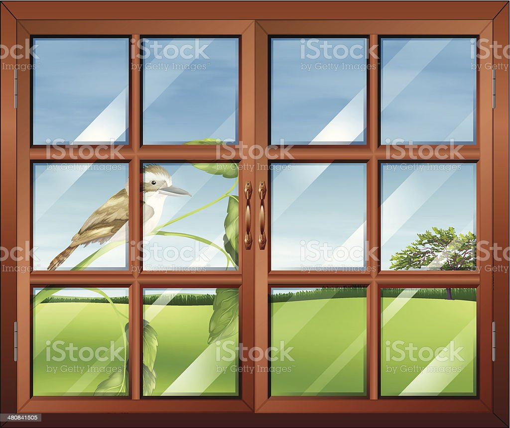 Closed window with a bird outside royalty-free stock vector art