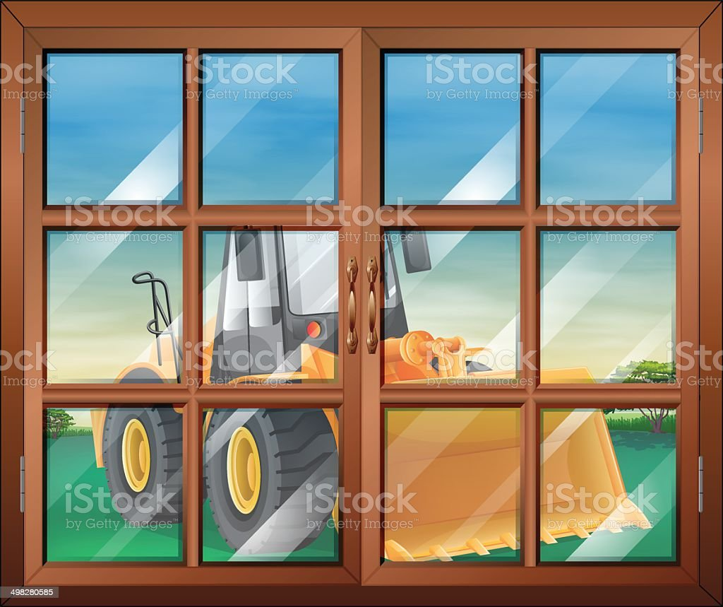 Closed window with a bulldozer vector art illustration