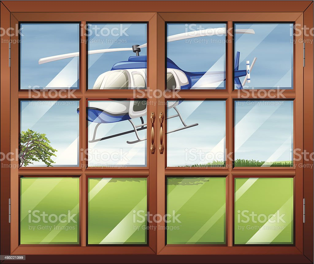 Closed window with a helicopter outside vector art illustration