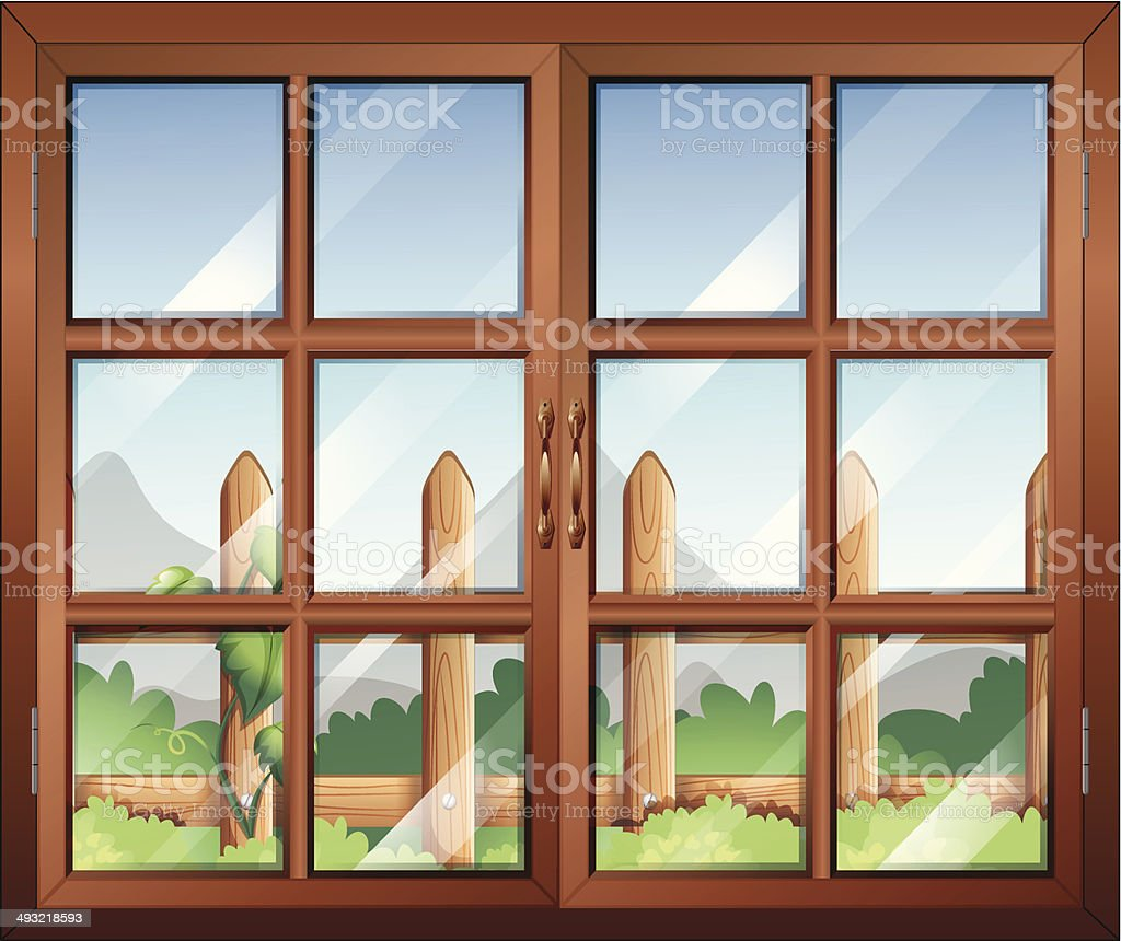 Closed window with a view of fence at the yard vector art illustration