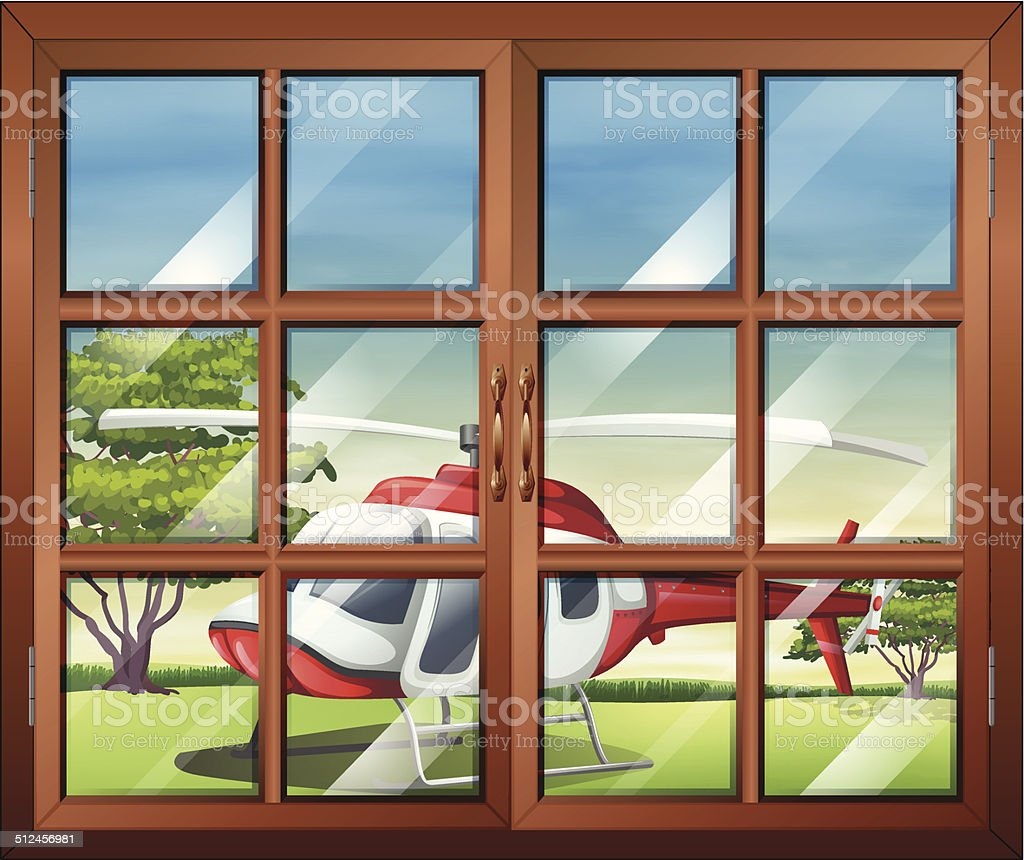 Closed window with a view of the chopper outside vector art illustration