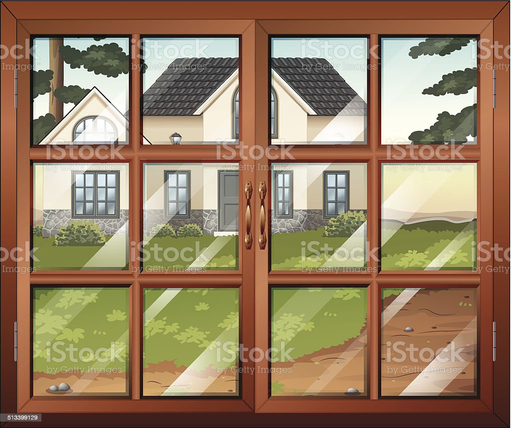 Closed window with a view of the house outside vector art illustration
