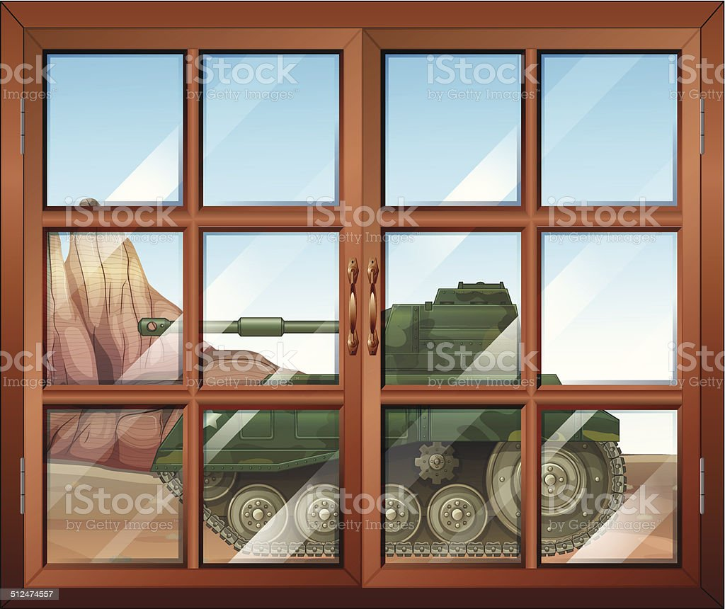 Closed window with a view of the military tanker outdoor vector art illustration